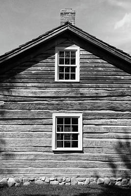 Photograph - Mudge Log Cabin 1 Bw by Mary Bedy