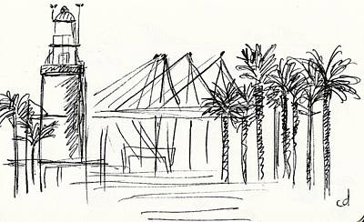 Outdoor Lights Drawing - Muelle Uno In Malaga by Chani Demuijlder