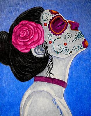 Painted Face Painting - Muerte Tranquila  by Al  Molina