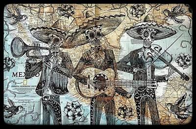 Sugar Skull Drawing - Muerto Mariachis by John Parish