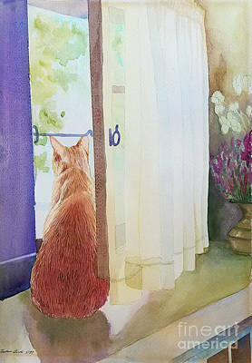 Painting - Muffin At Window by Barbara Oertli