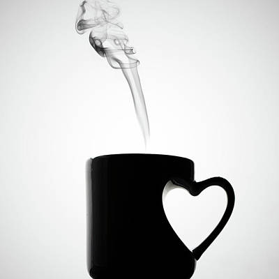 Photograph - Mug Of Coffee With Handle Of Heart Shape by Saulgranda