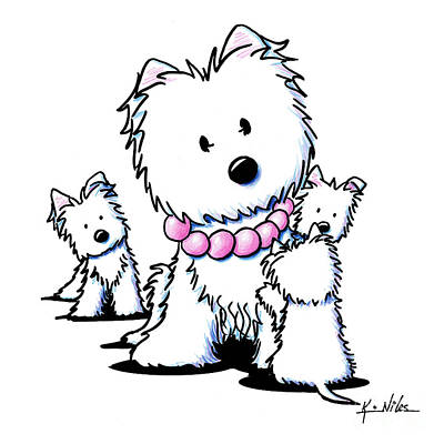 White Terrier Drawing - Muggles Mom And Siblings by Kim Niles