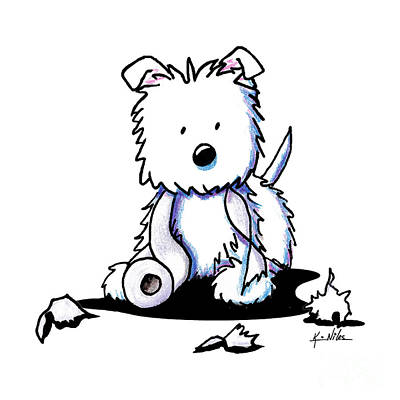 White Terrier Drawing - Muggles With Tp by Kim Niles
