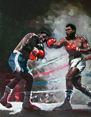 Boxer Painting - Muhammad Ali And Joe Frazier by Ylli Haruni
