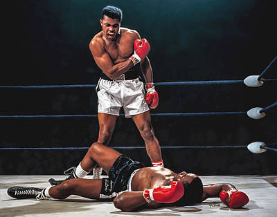 Boxer Painting - Muhammad Ali Boxer Knocks Out Sonny Liston Cassius Marcellus Clay Boxing Legend by Rich image