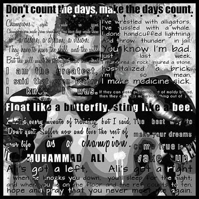 Muhammad Ali - Cassius Clay Motivational Inspirational Independent Quotes 1 Print by Diana Van