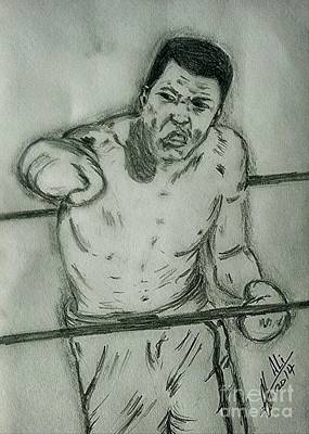 Boxer Drawing - Muhammad Ali by Collin A Clarke