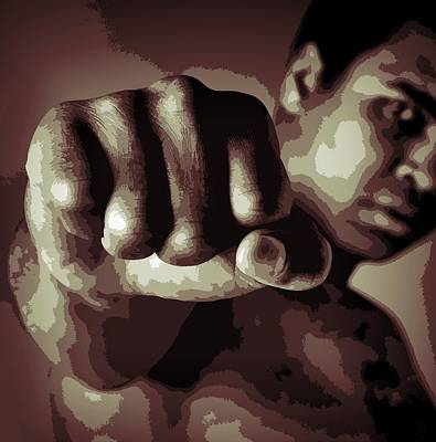 Champion Mixed Media - Muhammad Ali Fist Poster by Dan Sproul