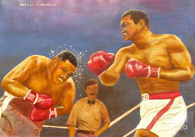 Boxer Painting - Muhammad Ali Frazier Thrilla In Manilla Title Fight by Anthony Morretta