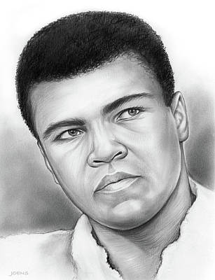 Sports Drawings - Muhammad Ali by Greg Joens