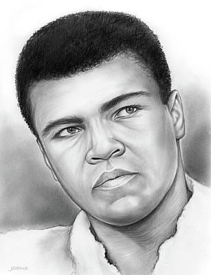 Sports Drawings - Muhammad Ali by Greg Joens