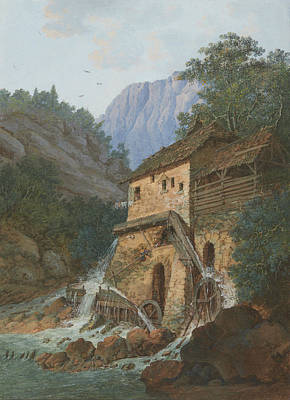 Water Wheel Painting - Muhle Montreux by Louis Albert Guislain Bacler d'Albe