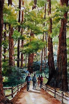California Watercolor Artists Painting - Muir Woods by Aparna Raghunathan