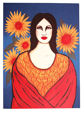 Mujer Con Flores Art Print by Laura Lopez Cano