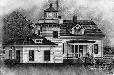Digital Art - Mukilteo Lighthouse Sketched by Kirt Tisdale