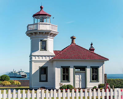 Photograph - Mukilteo Lighthouse With Washington Ferry In Puget Sound by Open Range