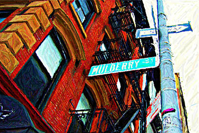 Nyc Digital Art - Mulberry Street Sketch by Randy Aveille