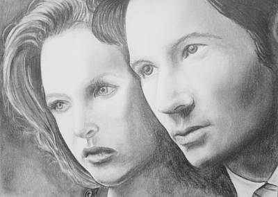 Gillian Anderson Drawing - Mulder And Scully by Jeff Noble
