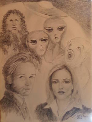 Gillian Anderson Drawing - Mulder And Scully, The X Files by Galen Foor