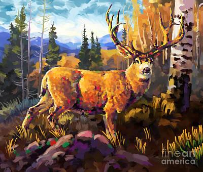 Painting - Mule Deer 1 by Tim Gilliland