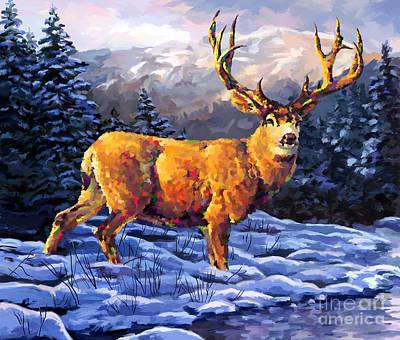 Painting - Mule Deer 2 by Tim Gilliland