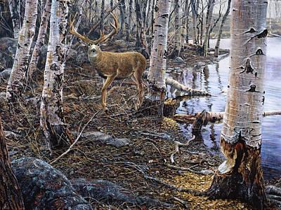 Painting - Mule Deer Beaver Pond by Brian Durfee