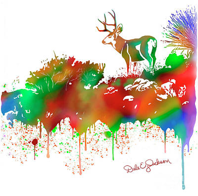 Digital Art - Mule Deer Buck Skyline Drip Pop Art II by Dale E Jackson