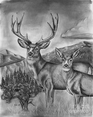 Mule Deer Drawing - Mule Deer Heaven by Russ  Smith