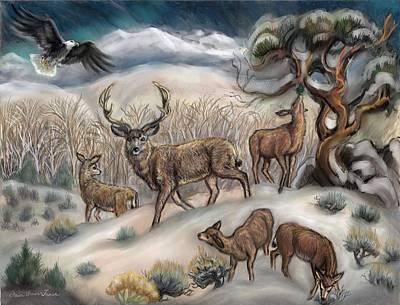 Painting - Mule Deer In Winter by Dawn Senior-Trask