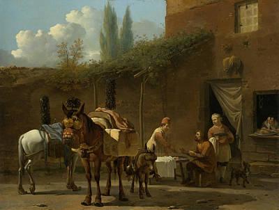 Painting - Mule Riders At An Inn by Karel Dujardin