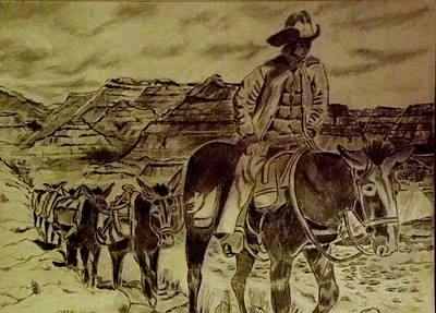 Grand Canyon Drawing - Mule Train by Yvonne Breen