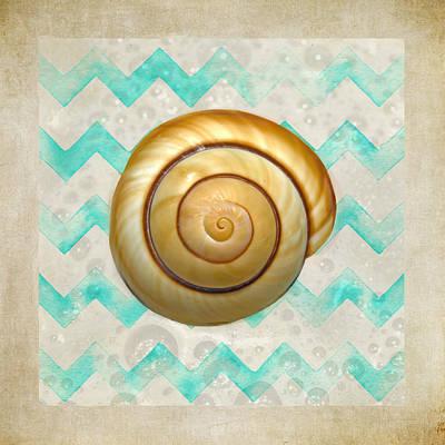 Mullusk Sea Shell In Modern Waves Art Print by Sandi OReilly