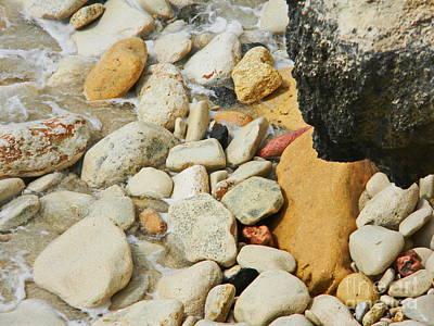 Photograph - multi colored Beach rocks by Expressionistart studio Priscilla Batzell