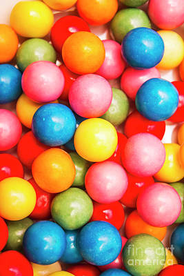 Multi Colored Gumballs. Sweets Background Art Print