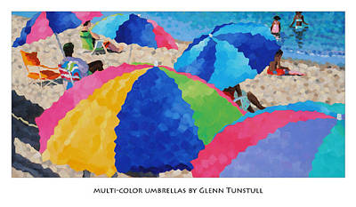 Painting - Multi Colored Umbrellas Poster by Glenn Tunstull