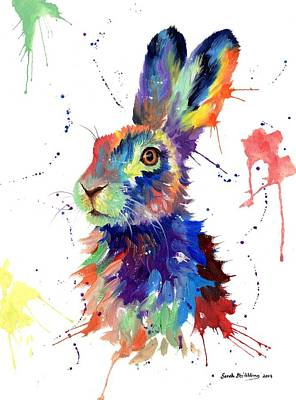 March Hare Painting - Multi Colour Hare by Sarah Stribbling
