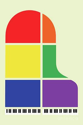 Digital Art - Multi Coloured Piano by Benjamin Harte
