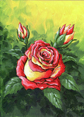 Painting - Multi Coloured Rose Sketch by Richard De Wolfe