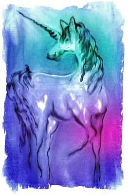 Digital Art - Multi Coloured Unicorn by Carol Rowland