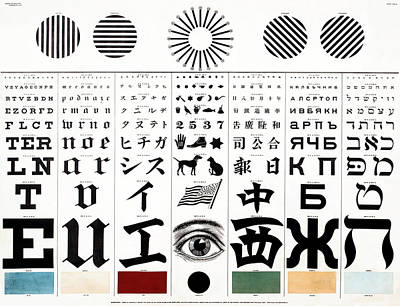 Photograph - Multi-cultural Optometrist Eye Chart 1907 by Daniel Hagerman