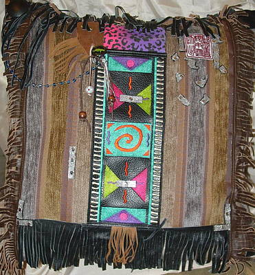 Re-purposed Mixed Media - Multi-ethos Indian Decorator Pillow by Lorraine Stone