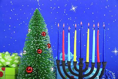 Multi-faith Celebration Hanukkah Christmas Art Print
