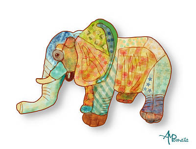 Multicolor Elephant Art Print by Angeles M Pomata