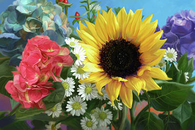 Sunflower Painting - Multicolor Flowers by Lucie Bilodeau