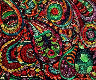 Digital Art - Multicolor Paisley 2 by Megan Walsh