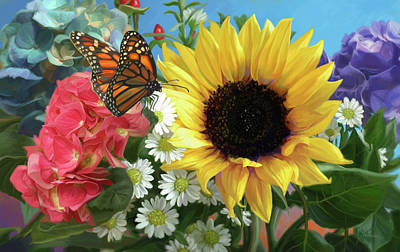 Sunflower Painting - Multicolor With Monarch by Lucie Bilodeau