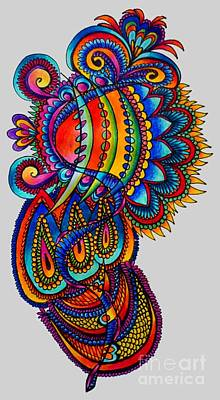 Abstract Shapes Drawing - Multicolored by Kathryn Jinae