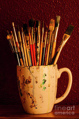 Photograph - Multicolored Paint Brushes In Cup  by Jim Corwin
