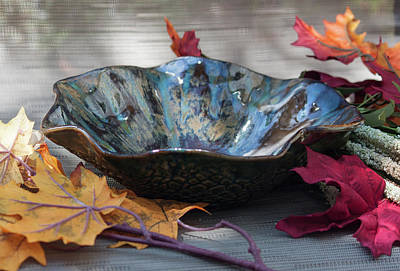 Ceramic Art - Multicolored Scalloped Decorative Bowl by Suzanne Gaff